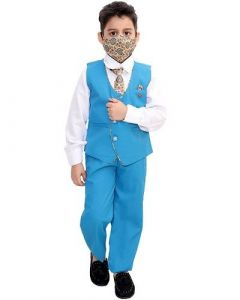 Suit Set with Shirt, Trouser, Bow, Waistcoat & Face Mask Best for Kids (Multicolor) (Pack of 1)