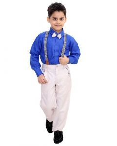 Suit Set with Shirt, Trouser, Bow & Gallace Best for Kids (Multicolor) (Pack of 1)