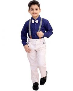 Suit Set with Shirt, Trouser, Bow & Gallace Ideal for Kids (Multicolor) (Pack of 1)