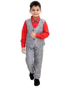 Suit Set with Shirt, Trouser, Bow & Waistcoat for Kids (Multicolor) (Pack of 1)