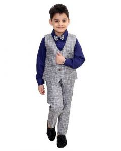 Suit Set with Shirt, Trouser, Bow & Waistcoat of Cotton Blend Fabric for Kids (Multicolor) (Pack of 1)