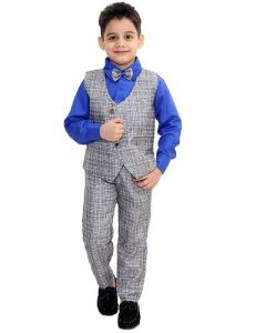 Suit Set with Shirt, Trouser, Bow & Waistcoat of Cotton Blend Fabric Ideal for Kids (Multicolor) (Pack of 1)