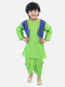 Boys Attached Jacket Dhoti Kurta of Silk Blend Fabric (Green) (Pack of 1)
