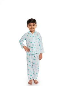 Cotton Fabric Full Sleeve Night Suit with Trouser Best for Kids (Multicolor) (Pack of 1)