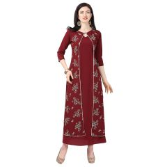 Daisy Crepe Red Printed Ethnic Wear Kurti with Plazzo for Womens (Color-Maroon)