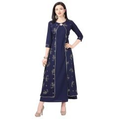 G.P Daisy Crepe Fabirc Printed Ethnic Wear Gown Womens (Color:-Blue)