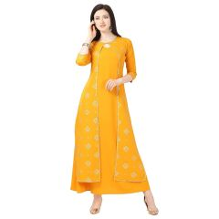 G.P Daisy Crepe Material, Printed Ethnic Wear Gown for Womens (Color:- Yellow)