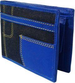 Men Blue Genuine Leather RFID Wallet  (3 Card Slots)