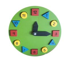 Green Clock Wooden For Kids for Learning Kids (Pack Of 1)
