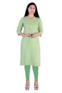 Trending Attractive Green Cotton Stitched Kurta for Women
