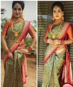Kanjivaram silk saree with accompanied rich zari Silver and Gold With Rich pallu