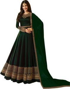 Women's Faux Cotton Satin With Full Embroidery Work Semi-stitched Anarkali Gown (Green)