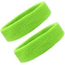 KGN Sweatband Headbands for Men & Women Sports Headbands Moisture Wicking Athletic Cotton Terry Cloth Wristbands Head Band Green Color (Pack of 2)