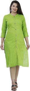 Women Solid & Stylish Pure Cotton Casual Kurta (Green)