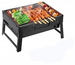 Stainless Steel Briefcase Style Barbecue Grill Toaster (Medium, Black)