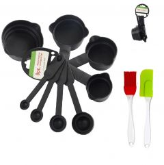 Krivish Combo Set of 8 Black Plastic Measuring Cup, Spoon & Pack of 2 Multicolor Silicone Spatula & Oil Brush For Kitchen Cooking and Baking