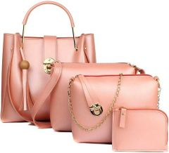 Trendy Women PU Leather Hand Bag For Casual (Pink) (Pack of 4)