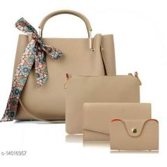 Stylish Women PU Leather Hand Bag For Formal, Casual & Party Wear (Combo of 4)