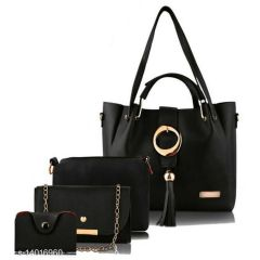 Stylish Women PU Leather Hand Bag For Casual & Party Wear (Combo of 4)