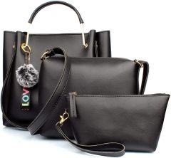 Stylish Women PU Leather Hand Bag For Casual & Party Wear (Black) (Combo of 3)