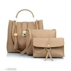 Stylish Women PU Leather Hand Bag For Casual & Party Wear (Beige) (Combo of 3)