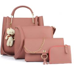 Stylish Women PU Leather Hand Bag For Casual & Party Wear (Pink) (Combo of 4)