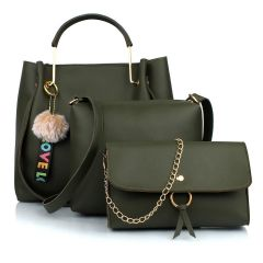 Stylish Women PU Leather Hand Bag For Casual & Party Wear (Green) (Combo of 3)