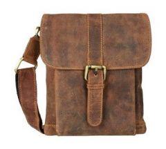 Splash USA Brown Messenger Bag In Genuine Crunch Leather