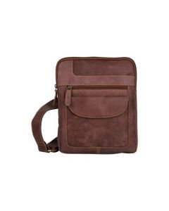 ASPENLEATHER Messenger Bag In Genuine Crunch Leather (Burgundy)