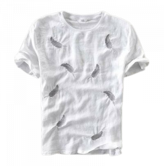 Regular Fit Cotton Leaf Printed Half Sleeves Round Neck T-Shirts For Men (White) (Pack of 1)