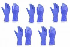 Reusable Stretchable Rubber Hand Gloves for Washing Cleaning Kitchen & Garden (5Pair) (Color: Blue)