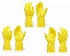 Reusable Rubber Hand Gloves for Cleaning Different Color Will Be Ship (Pack of 3)