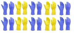Rubber Hand Gloves Reusable Washing Cleaning Kitchen Garden (10 Pairs)