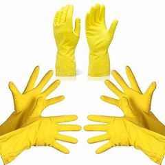 Reusable Rubber Hand Gloves for Cleaning Different Color Will Be Ship (Yellow) (Pack of 3)