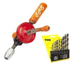 THS DIY Manual Heavy Duty Hand Drill Machine 1/4-inch With 13PCS Wood Pvc Metal Drill Set (Pack of 2)
