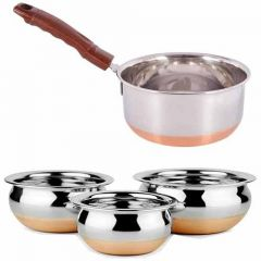 Stainless Steel with Copper Bottom Kitchenware Set | 3 Handi | 1 Pan (Pack of 4)