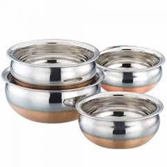 Stainless Steel with Copper Bottom Kitchenware Serving Handi (Pack of 4)