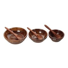 Visitors Handcrafted Floral Print Deep Carved Fancy Wooden Brass Work Sheesham Wood Wooden Brown Serving Bowl for Salad Snacks Decorated Tableware Bowls and Spoons for Breakfast (Pack of 6)
