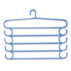 5 in 1 Multipurpose Plastic Hanger for clothes Hanging in Almira, Assorted (5-Layer) (Blue)