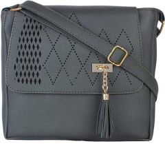Design & Stylish Leather Sling Bags, 2 Compatmants With Zipper For Women & Girls