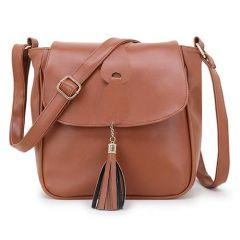 Stylish & Design Sling Bag, 2 Compartments With Zip Closure For Women & Girls (Tan)