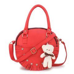 Stylish & Designed Round Sling Crossbody Bag Adjustable Sling Bag For Women & Girls (Red)