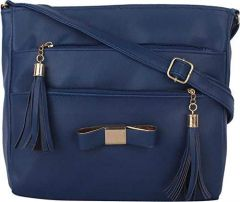 Stylish & Fancy PU Leather Sling Cross Body Bag, 2 Compartments With Zip Closure For Women & Girls
