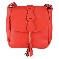 Stylish PU Leather Sling Bag, 2 Compartments With Zip Closure For Women & Girls (Red)