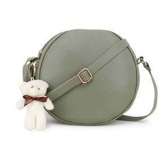 Stylish PU Leather Teddy Keychain Round Sling Bag For Women (Pista)