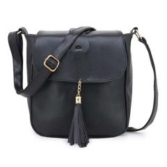 Stylish & Designer PU Leather Tassel Sling Bag, 2 Main Compartments With Zippers & Adjustable Strap For Women