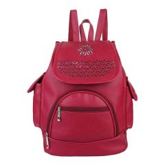 Fashionable PU Leather Hand Bag, 2 Compartments With Zipper For Women & Girls (Maroon)