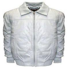 Aspenleather Franchise Club Home Base Classic Fit Leather Bomber Jacket White