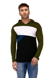 Comfortable and Regular Fit Cotton Color-Blocked Hooded For Men's (Olive Green) (Pack of 1)