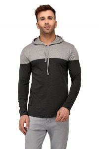 Comfortable and Regular Fit Cotton Color-Blocked Hooded For Men's (Grey & Black) (Pack of 1)